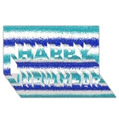 Metallic Blue Glitter Stripes Happy New Year 3D Greeting Card (8x4)