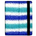 Metallic Blue Glitter Stripes Apple iPad Mini Flip Case View2