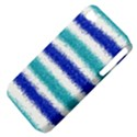 Metallic Blue Glitter Stripes Apple iPhone 4/4S Hardshell Case (PC+Silicone) View4