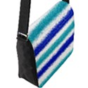 Metallic Blue Glitter Stripes Flap Messenger Bag (L)  View2