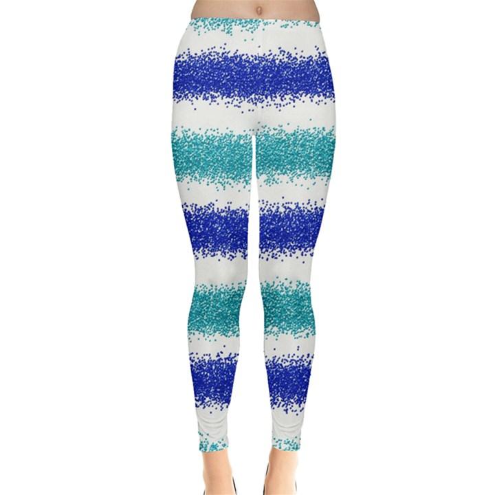 Metallic Blue Glitter Stripes Leggings