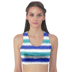 Metallic Blue Glitter Stripes Sports Bra