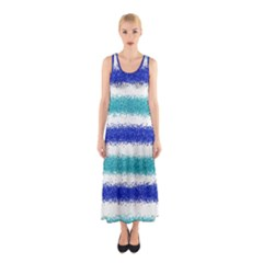 Metallic Blue Glitter Stripes Sleeveless Maxi Dress