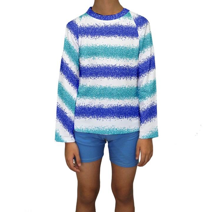 Metallic Blue Glitter Stripes Kids  Long Sleeve Swimwear