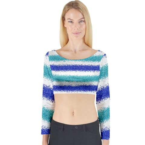 Metallic Blue Glitter Stripes Long Sleeve Crop Top