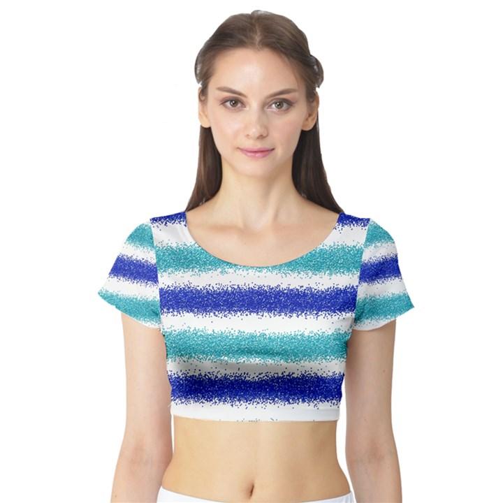 Metallic Blue Glitter Stripes Short Sleeve Crop Top (Tight Fit)