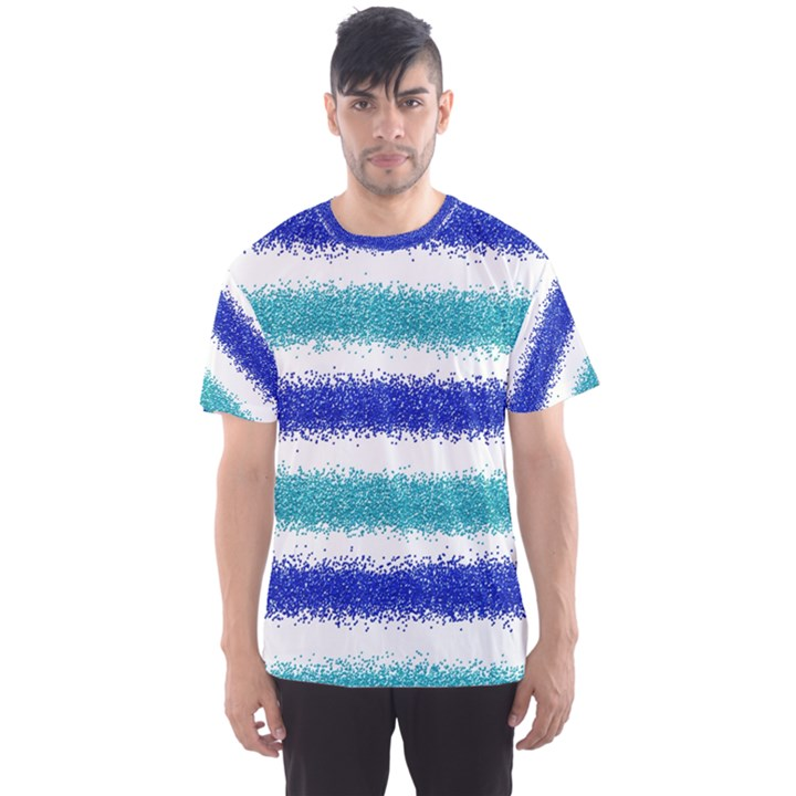 Metallic Blue Glitter Stripes Men s Sport Mesh Tee