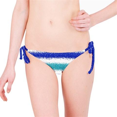 Metallic Blue Glitter Stripes Bikini Bottom