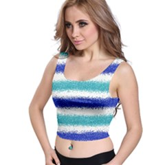 Metallic Blue Glitter Stripes Crop Top