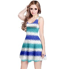 Metallic Blue Glitter Stripes Reversible Sleeveless Dress