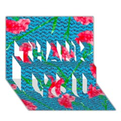 Carnations THANK YOU 3D Greeting Card (7x5)
