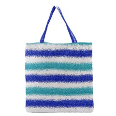 Metallic Blue Glitter Stripes Grocery Tote Bag