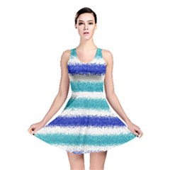 Metallic Blue Glitter Stripes Reversible Skater Dress