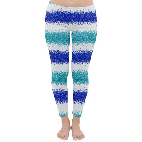 Metallic Blue Glitter Stripes Winter Leggings