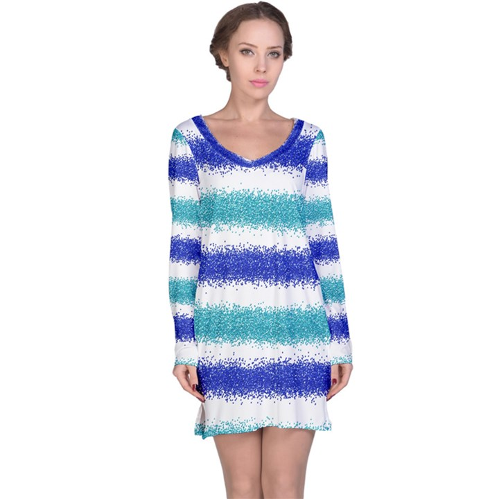 Metallic Blue Glitter Stripes Long Sleeve Nightdress