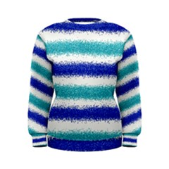 Metallic Blue Glitter Stripes Women s Sweatshirt