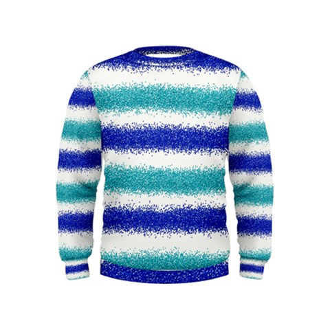 Metallic Blue Glitter Stripes Kids  Sweatshirt