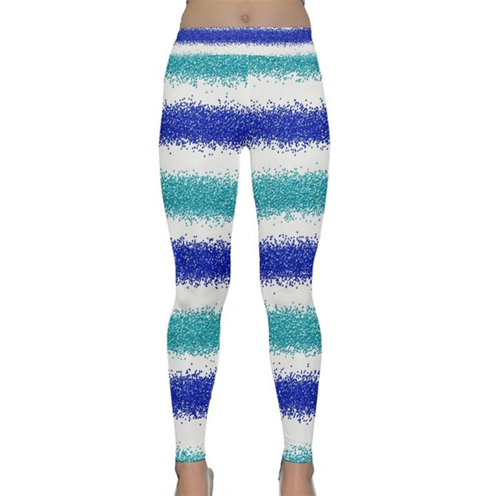 Metallic Blue Glitter Stripes Yoga Leggings