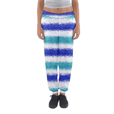Metallic Blue Glitter Stripes Women s Jogger Sweatpants