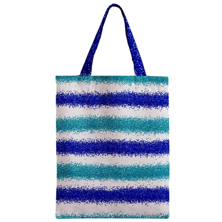 Metallic Blue Glitter Stripes Zipper Classic Tote Bag