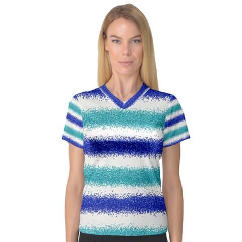 Metallic Blue Glitter Stripes Women s V-Neck Sport Mesh Tee