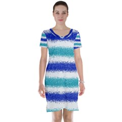 Metallic Blue Glitter Stripes Short Sleeve Nightdress