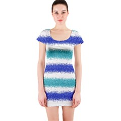 Metallic Blue Glitter Stripes Short Sleeve Bodycon Dress
