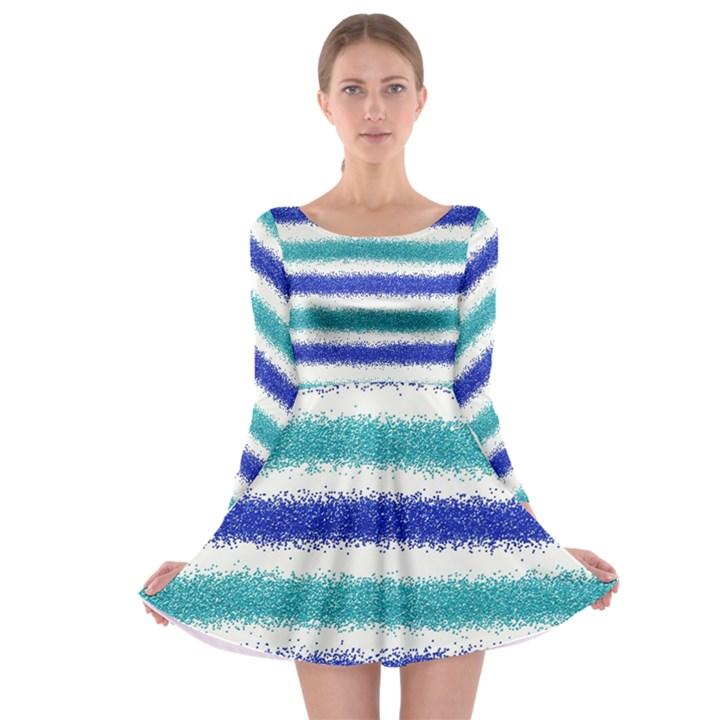 Metallic Blue Glitter Stripes Long Sleeve Skater Dress