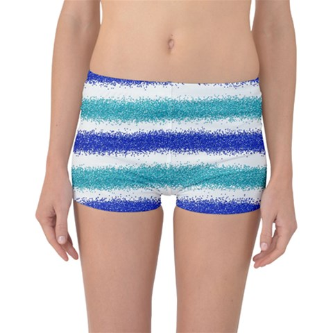 Metallic Blue Glitter Stripes Boyleg Bikini Bottoms