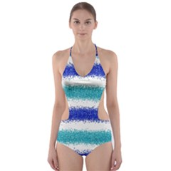 Metallic Blue Glitter Stripes Cut-Out One Piece Swimsuit