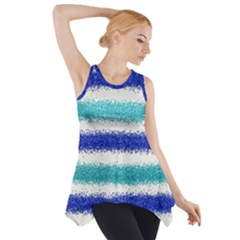 Metallic Blue Glitter Stripes Side Drop Tank Tunic