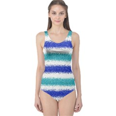 Metallic Blue Glitter Stripes One Piece Swimsuit
