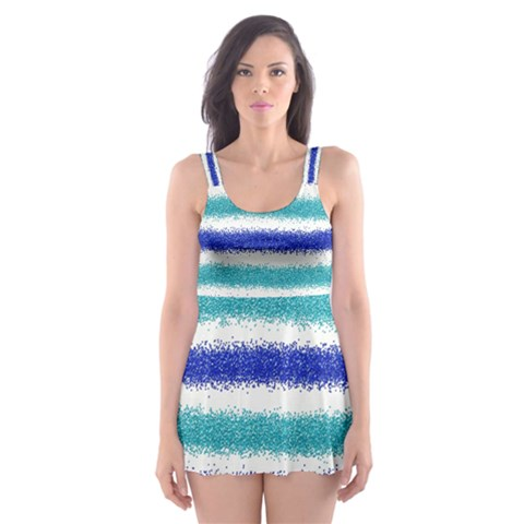 Metallic Blue Glitter Stripes Skater Dress Swimsuit