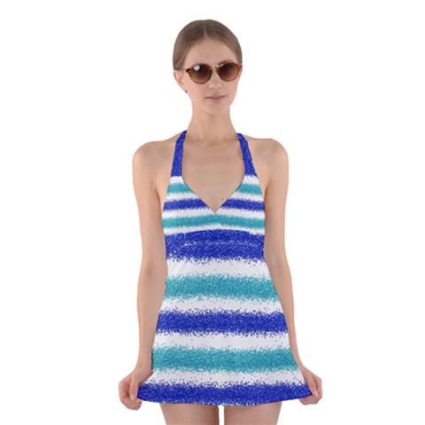 Metallic Blue Glitter Stripes Halter Swimsuit Dress