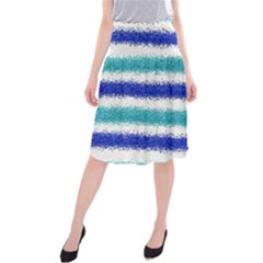Metallic Blue Glitter Stripes Midi Beach Skirt