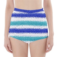 Metallic Blue Glitter Stripes High-Waisted Bikini Bottoms