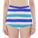 Metallic Blue Glitter Stripes High-Waisted Bikini Bottoms View1