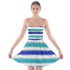 Metallic Blue Glitter Stripes Strapless Bra Top Dress