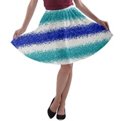 Metallic Blue Glitter Stripes A-line Skater Skirt