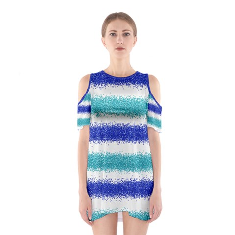 Metallic Blue Glitter Stripes Cutout Shoulder Dress