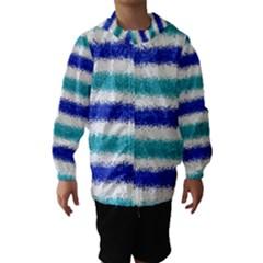 Metallic Blue Glitter Stripes Hooded Wind Breaker (Kids)