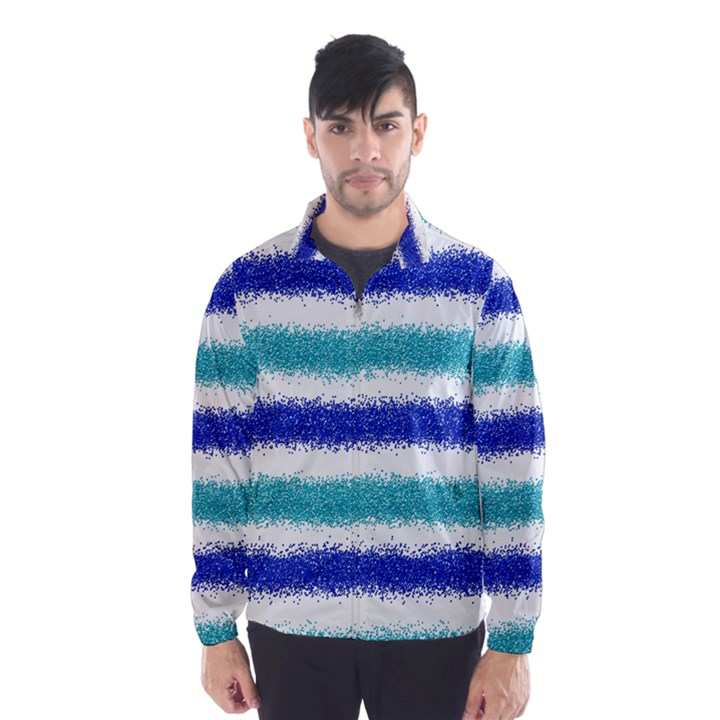 Metallic Blue Glitter Stripes Wind Breaker (Men)