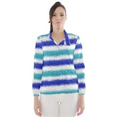 Metallic Blue Glitter Stripes Wind Breaker (Women)