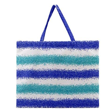 Metallic Blue Glitter Stripes Zipper Large Tote Bag