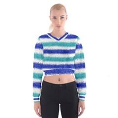 Metallic Blue Glitter Stripes Women s Cropped Sweatshirt