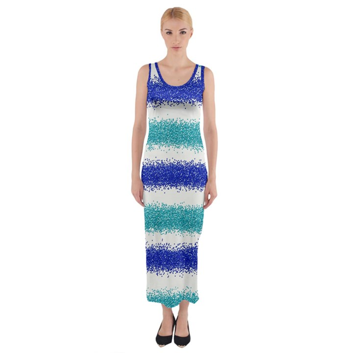 Metallic Blue Glitter Stripes Fitted Maxi Dress