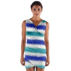 Metallic Blue Glitter Stripes Wrap Front Bodycon Dress