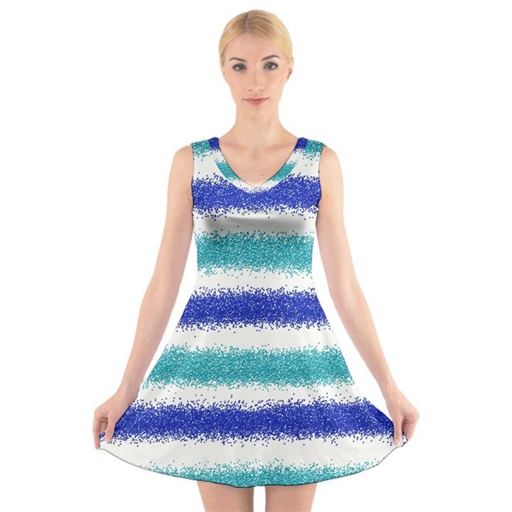 Metallic Blue Glitter Stripes V-Neck Sleeveless Skater Dress