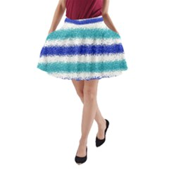 Metallic Blue Glitter Stripes A-Line Pocket Skirt