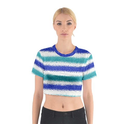 Metallic Blue Glitter Stripes Cotton Crop Top